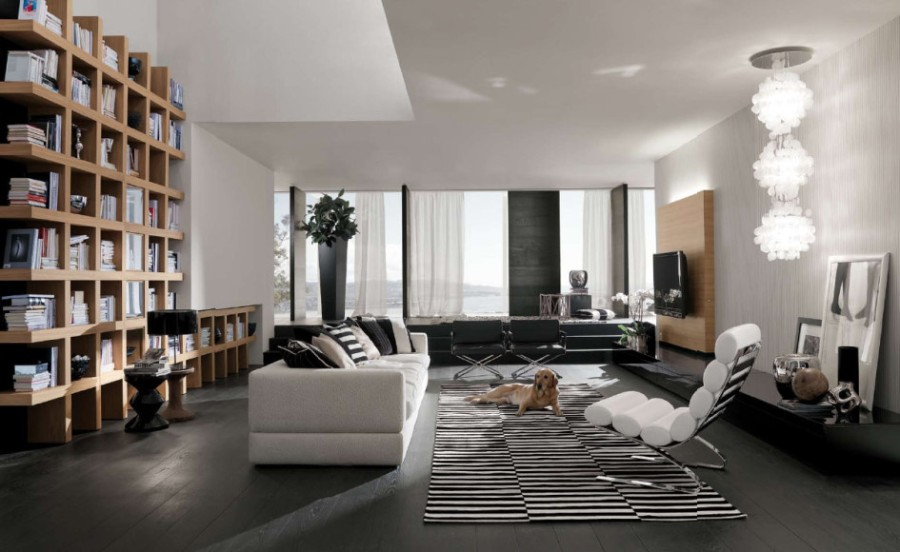 bookshelves-design-for-living-room-design-ideas-with-black-and-white-fur-rug-with-white-sofa-and-cushion-with-living-room-furniture-idea-with-glass-window-and-curtains-with-chandelier-for-living-room-945x580